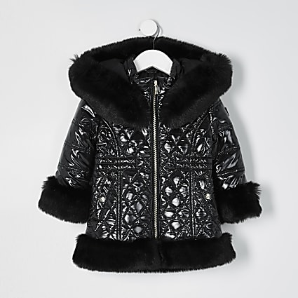 Mini girls black faux fur hem puffer coat