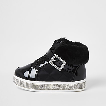 Mini girls black faux fur hi top trainer