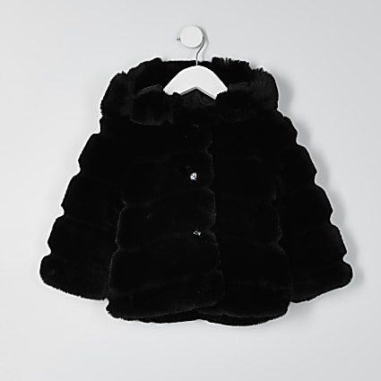 Mini girls black faux fur hood coat