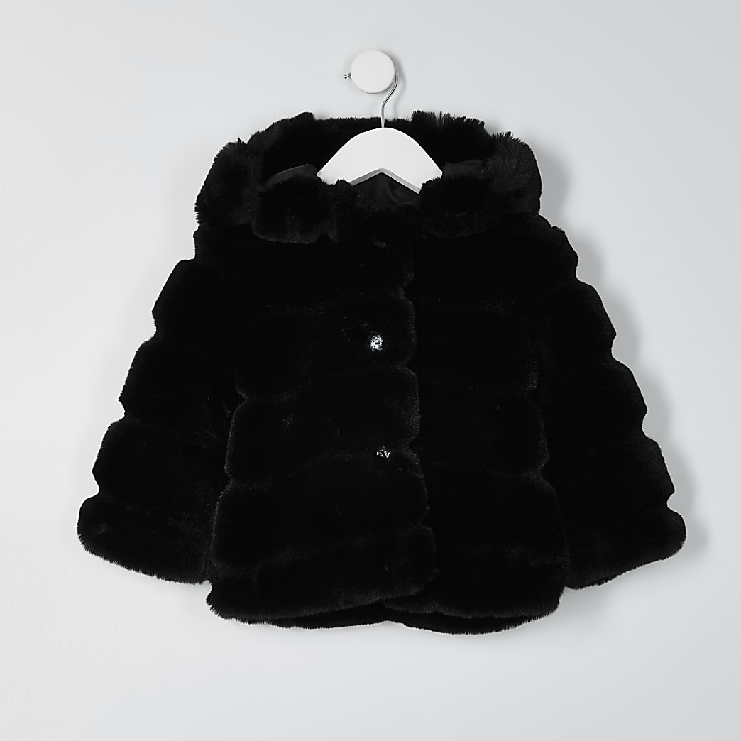 Mini girls black faux fur hood coat