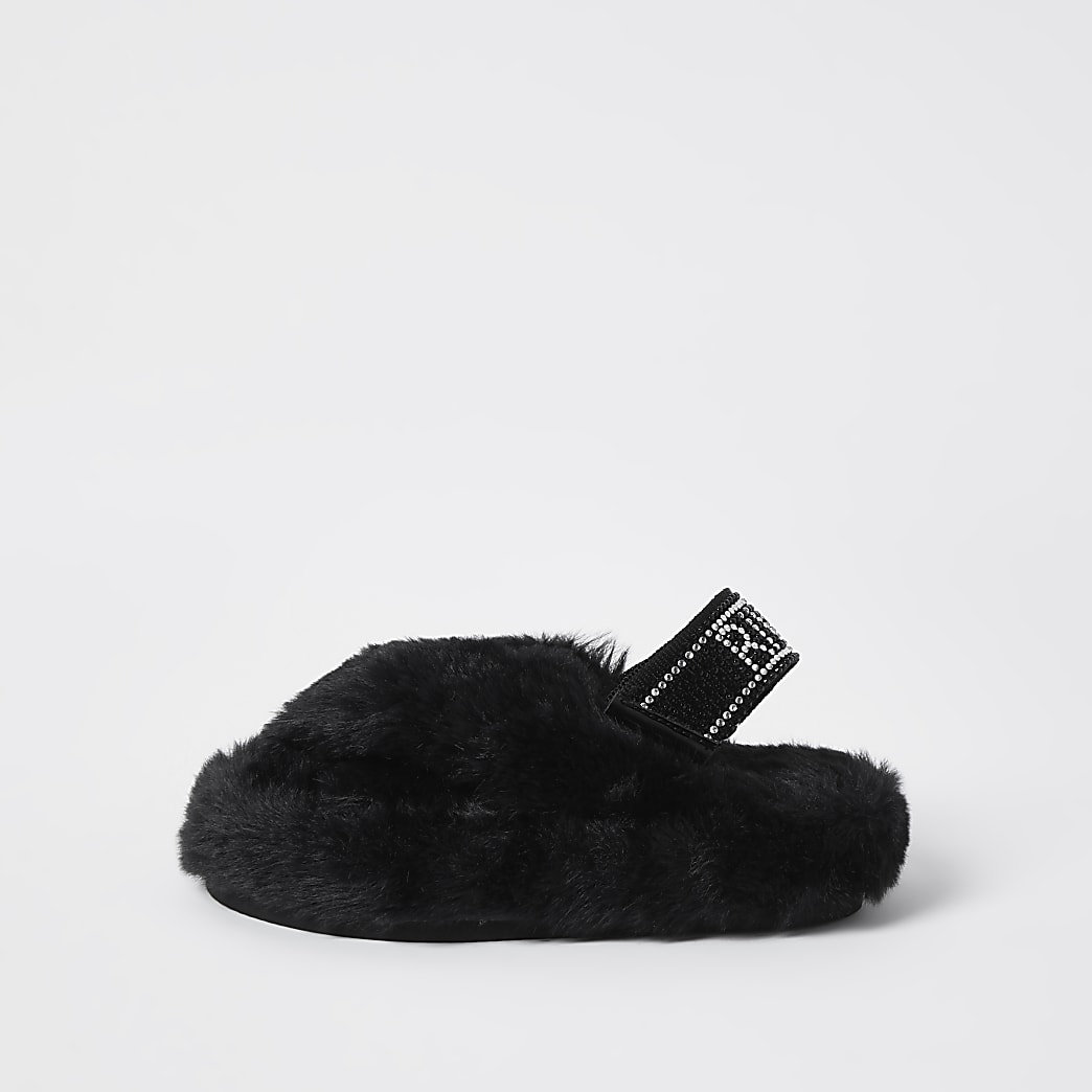 Mini girls black faux fur slippers