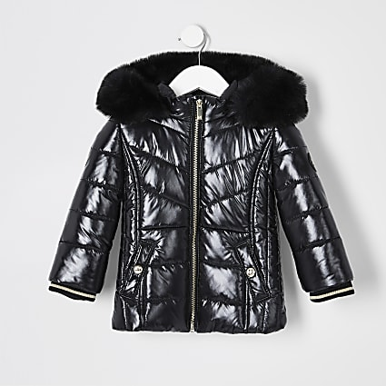 Mini girls black faux fur trim padded coat