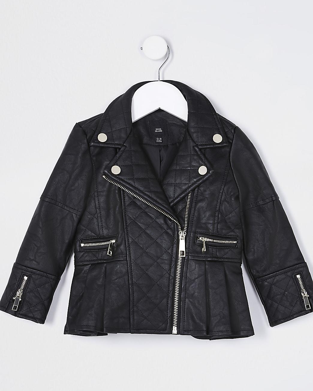 Mini girls black faux leather biker jacket