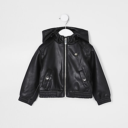 Mini girls black faux leather bomber jacket