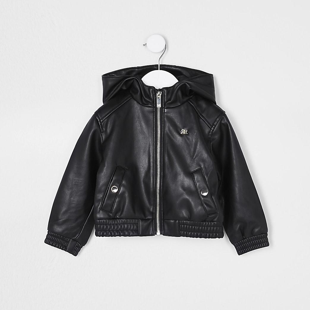 Mini girls black faux leather bomber jacket