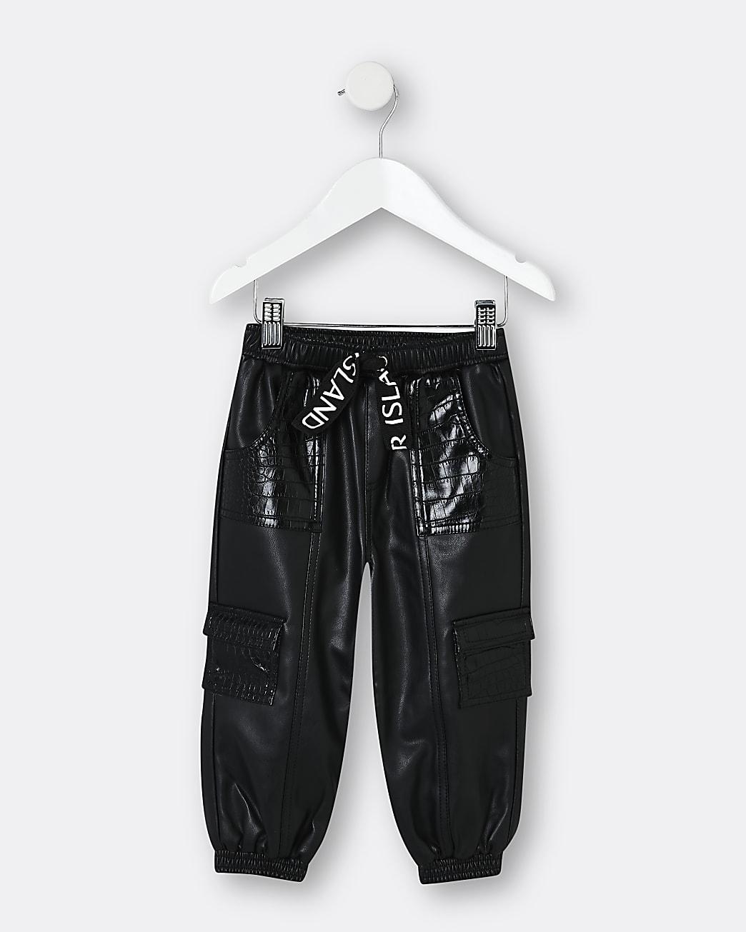 Mini girls black faux leather croc joggers