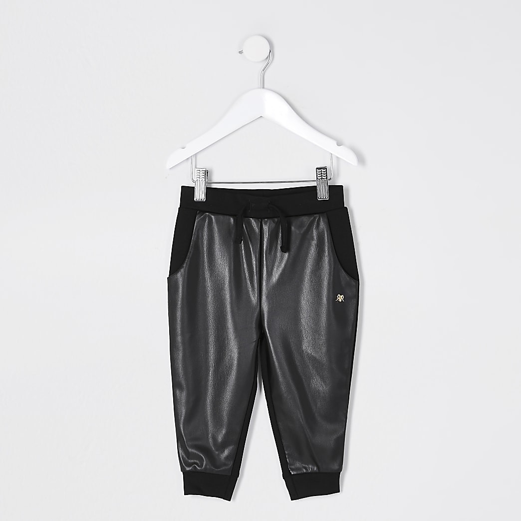 Mini girls black faux leather front Joggers
