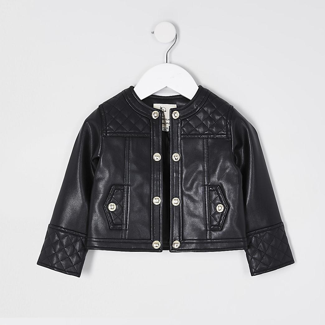 Mini girls black faux leather jacket