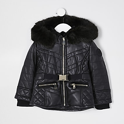 Mini girls black faux leather padded jacket