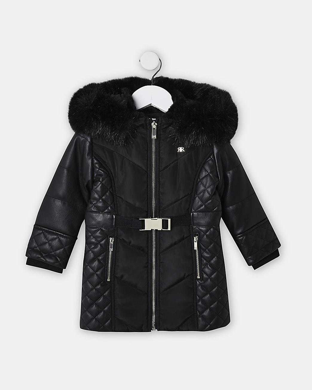 Mini girls black faux leather puffer coat