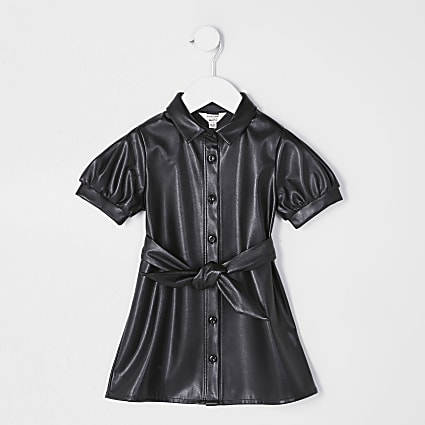 Mini girls black faux leather shirt dress