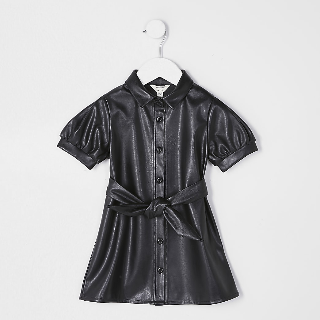 Mini girls black faux leather shirt dress