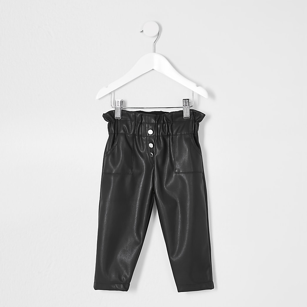 Mini girls black faux leather trousers