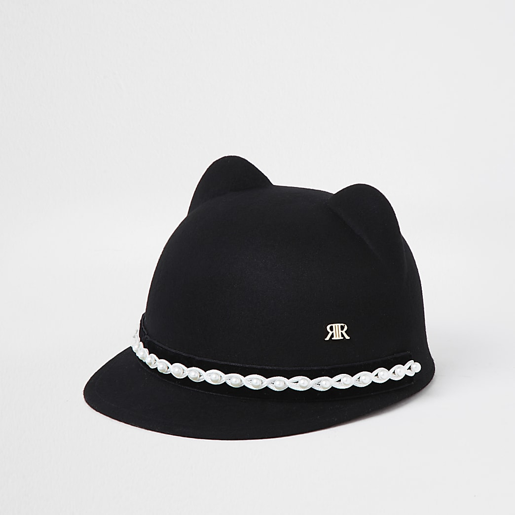 Mini girls black felt cat ears hat