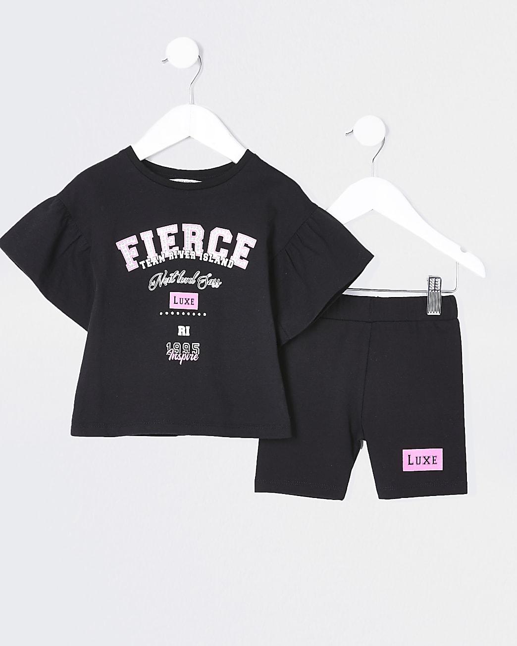 Mini girls black fierce frill t-shirt outfit