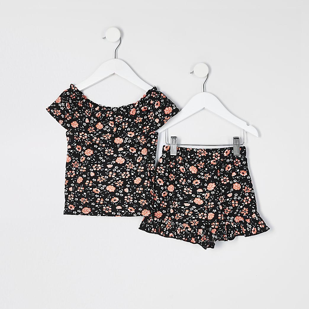 Mini girls black floral bardot top outfit