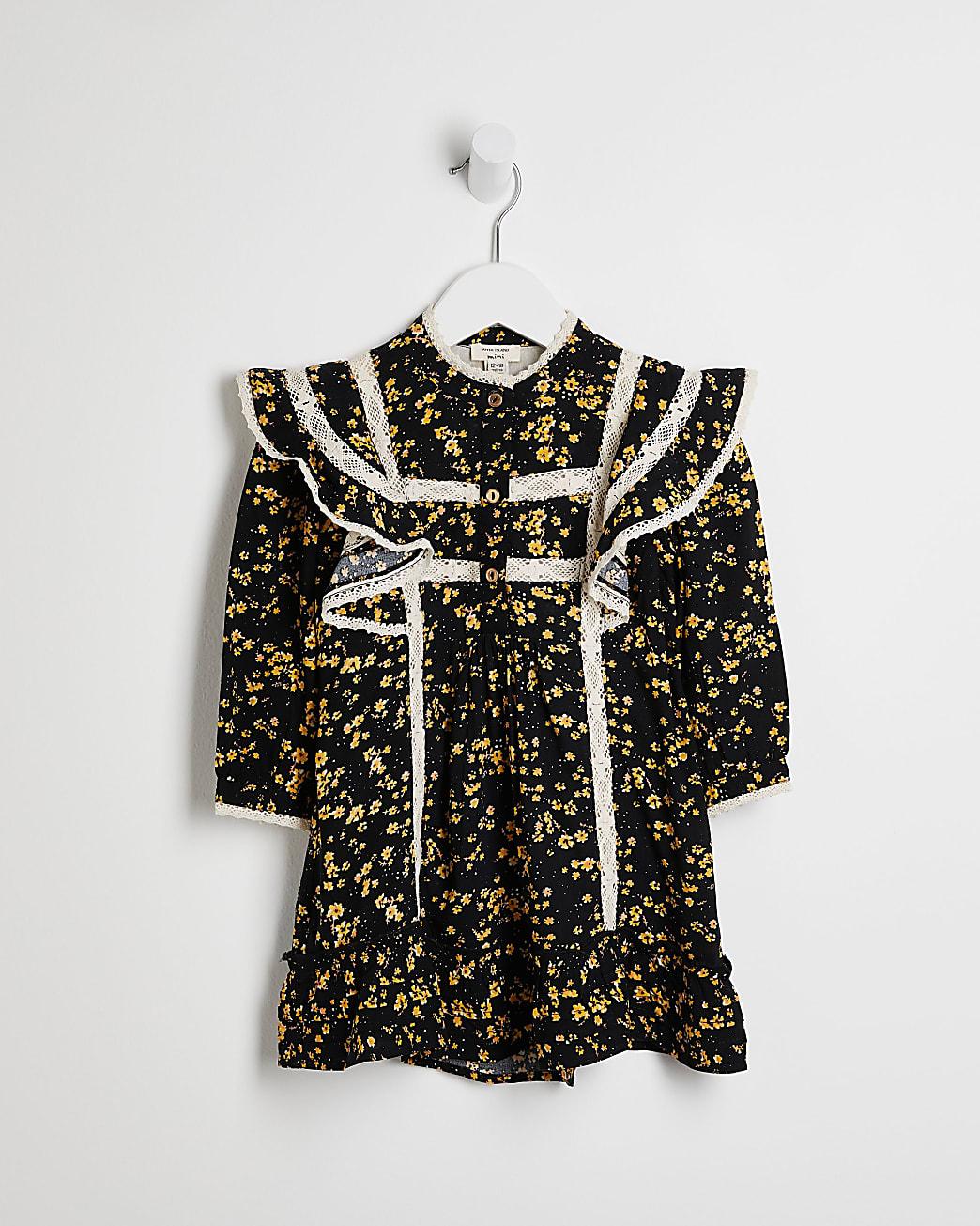 Mini girls black floral frill hem shirt dress