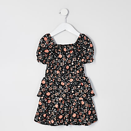 Mini girls black floral frill skater dress