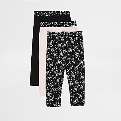 Mini girls black floral leggings 3 pack