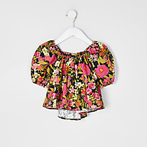 Mini girls black floral puff sleeve top