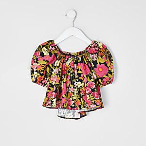 Mini - Zwarte top met bloemenprint en pofmouwen voor meisjes