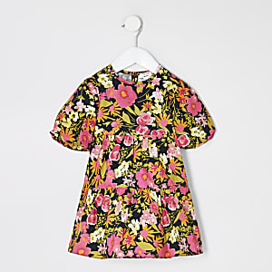Mini girls black floral smock dress