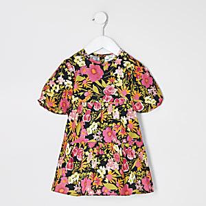 Mini – Gesmoktes Kleid in Schwarz mit Blumenmuster