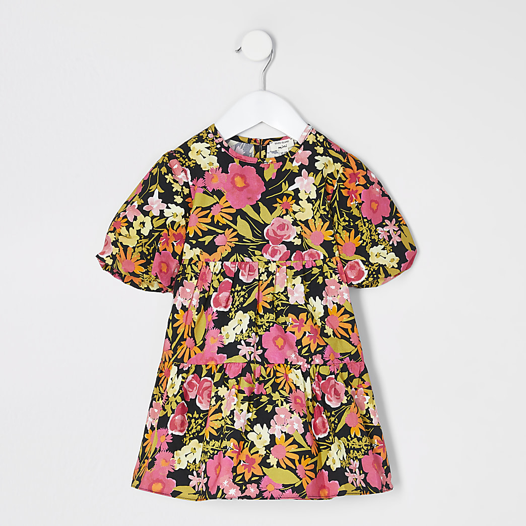 Mini girls black floral smock dress