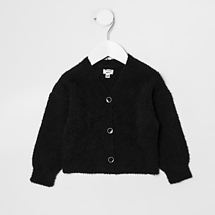 Mini girls black fluffy cardigan