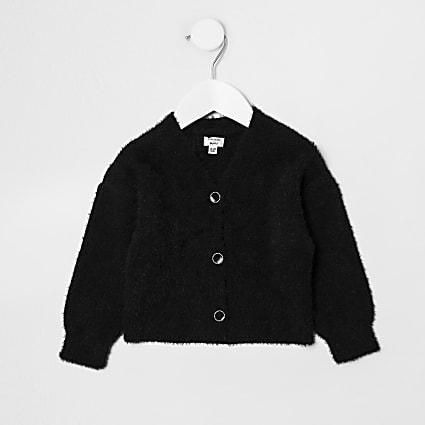 Mini girls black fluffy cardigan