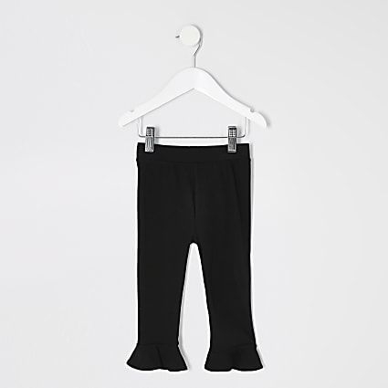 Mini girls black flute trim leggings