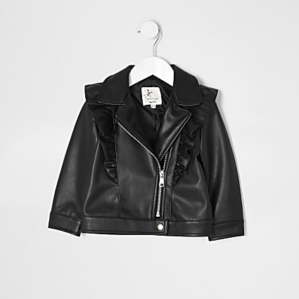 Mini girls black frill biker jacket
