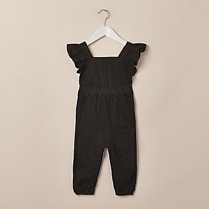 Mini girls black frill broderie jumpsuit