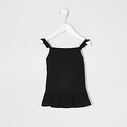 Mini girls black frill cami top