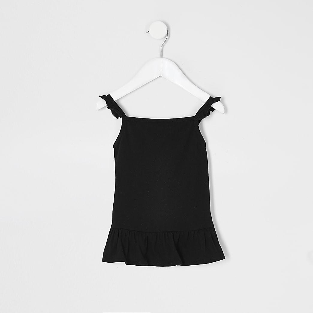 Mini - Zwarte cami top met ruches voor meisjes