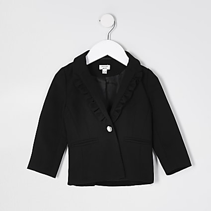Mini girls black frill collar detail blazer