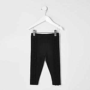 Mini– Schwarze, mit Rüschen versehene Ponté-Leggings für Mädchen