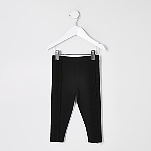 Mini - Zwarte leggings van ponté-stof met franje voor meisjes