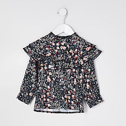 Mini girls black frill yoke floral blouse