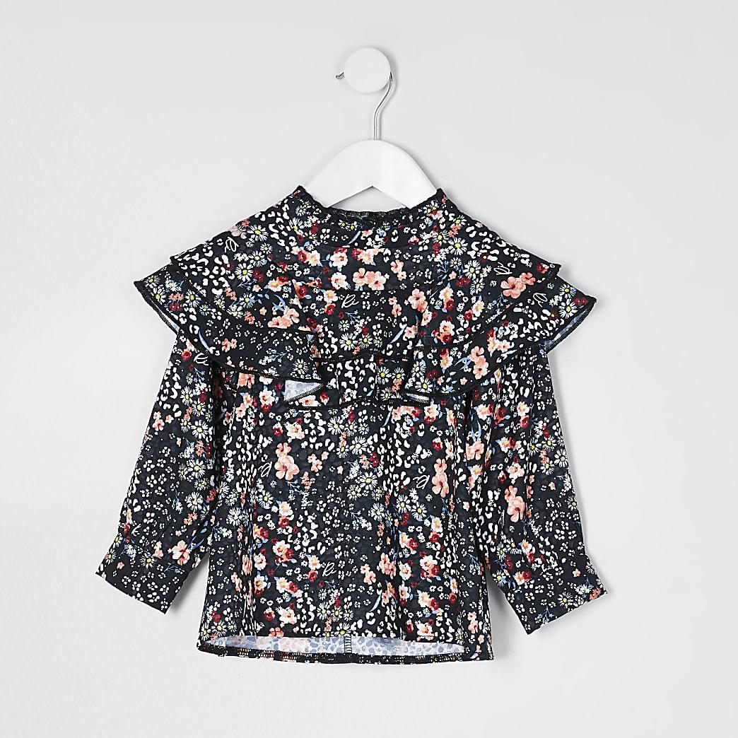 Mini girls black frill yoke floral blouse