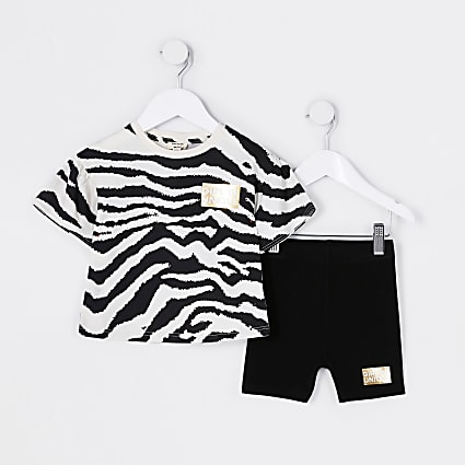 Mini girls black frill zebra print outfit