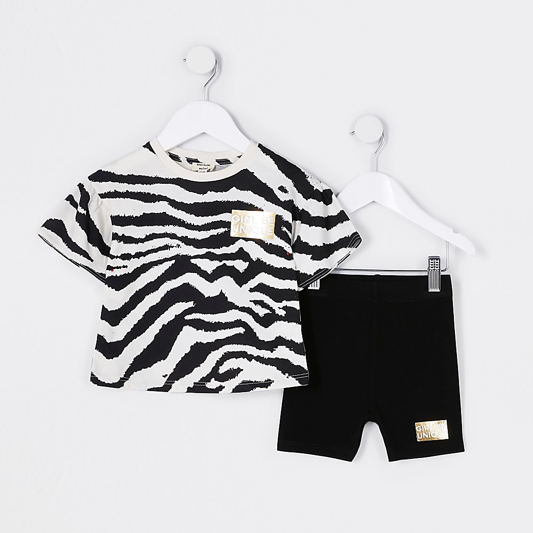 Mini girls black frill zebra print outfit