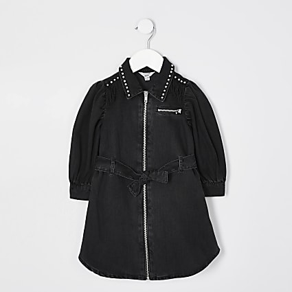 Mini girls black fringe denim shirt dress