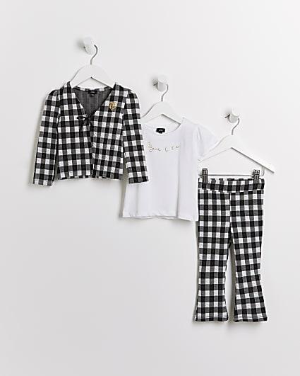 Mini girls black gingham cardigan 3 piece set