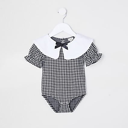 Mini girls black gingham collared bodysuit