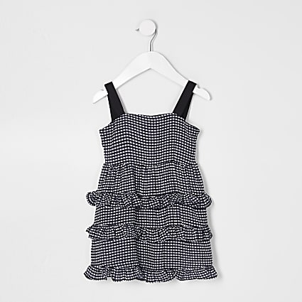 Mini girls black gingham tiered dress