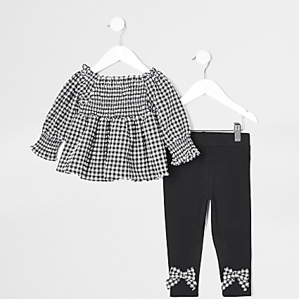 Mini girls black gingham top outfit