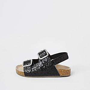 Mini - Zwarte sandalen met glitters en gespen voor meisjes