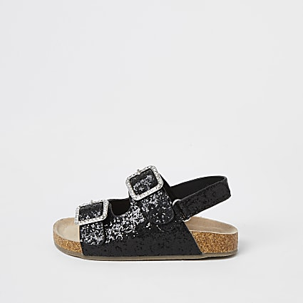 Mini girls black glitter buckle sandals