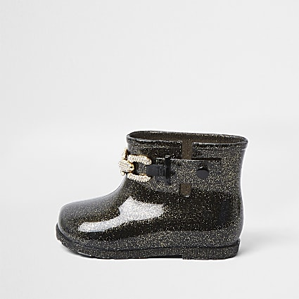 Mini girls black glitter chain wellie boots